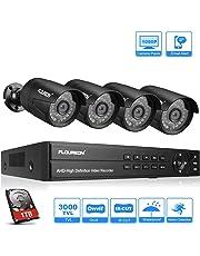 FLOUREON DVR Video Kit de vigilancia (8CH 1080N AHD DVR + 4 *1080P 3000TVL 2.0MP cámara exterior+disco duro de 1TB HDD), copia de seguridad USB, alarma por correo electrónico, sistema de seguridad