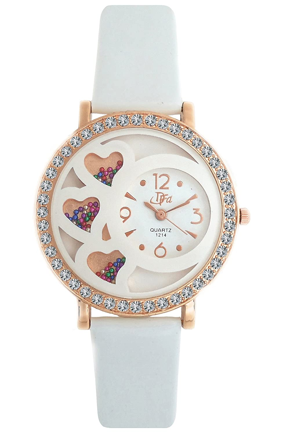 DFa Rose Gold White Heart Dial White Strap Analogue Watch for ...