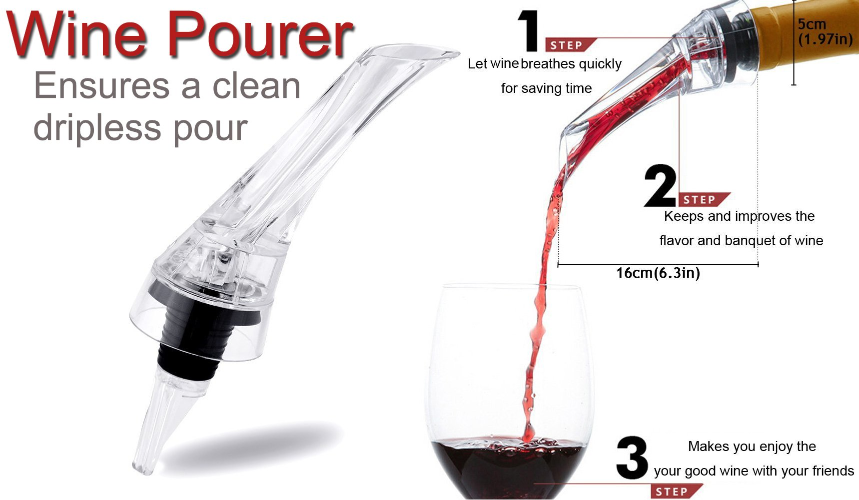 Wine Aerator Pourer by K&K With A Stopper For Wine Bottle Pouring No Drip Essential Wine Accessories by K&K (Image #2)