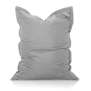 Livodoo® XXL Puf gigante gris 140 x180cm 400 litros puff xxl puff asiento cojin gigante relleno puff con saco interior en gris: Amazon.es: Hogar