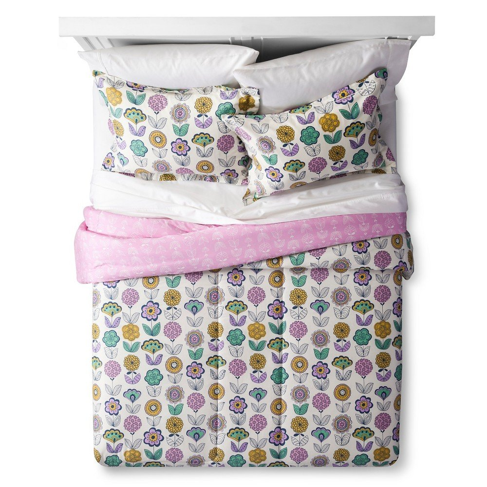 Lolli Living Girls Pink Floral Reversible Bedding Comforter Bed Set Full//Queen, Tallulah Loli Living