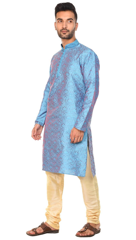 SKAVIJ Hommes Tunique Indienne Kurta Pyjama pour De Fete