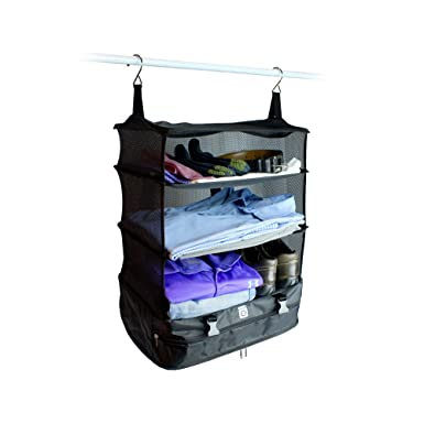 Merveilleux Stow N Go Portable Luggage System Suitcase Organizer   Large, BLACK,  Packable