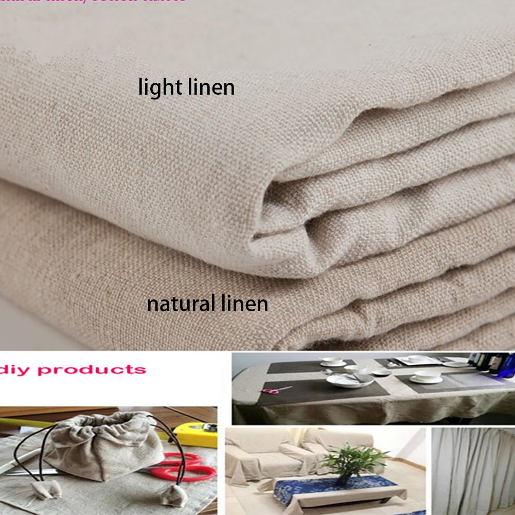 YOUMU Natural Cotton Linen Fabric, Solid Color Hemp Jute Burlap Fabric for Crafts & Decoration, 62'' x 39'' (Light Linen) 219-004--LTLN