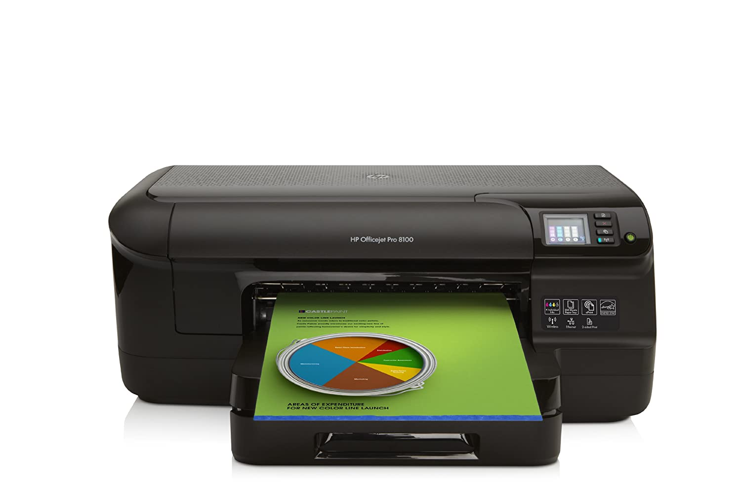 HP Officejet Pro 8100 - Impresora de tinta (B/N 35 PPM), color negro