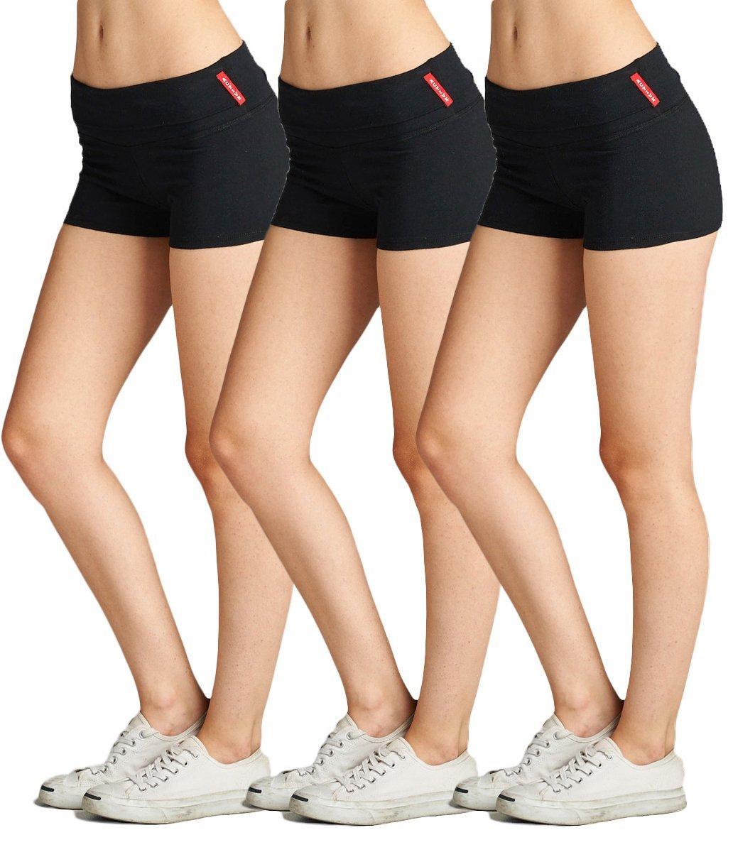 Emmalise Active Junior Women Fold Over Low Rise Short Cotton Spandex Yoga Workout Dance - 3Pk - Black Black Black, Medium