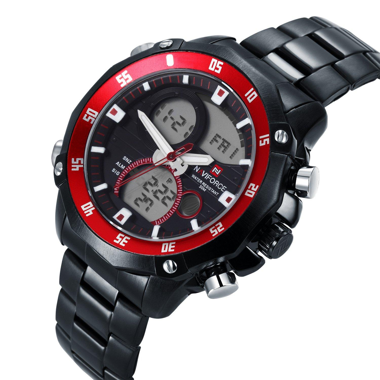 Acero analógico neotrix NAVIFORCE lujo inoxidable cuarzo y Digital LED Reloj Militar Deportes extremos 30M resistencia al agua del reloj para hombre - Negro ...