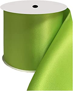 DUOQU 3 inch Wide Double Face Satin Ribbon 10 Yards Roll Multiple Colors Apple Green