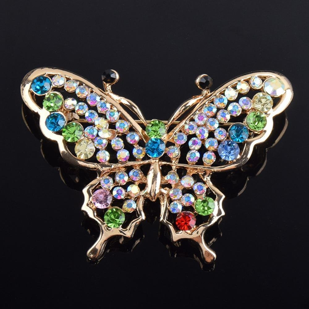 MAFYU Brooch Butterfly Brooch with Diamond Lady Brooch Colorful Zircon Pin Christmas Clothing Accessories
