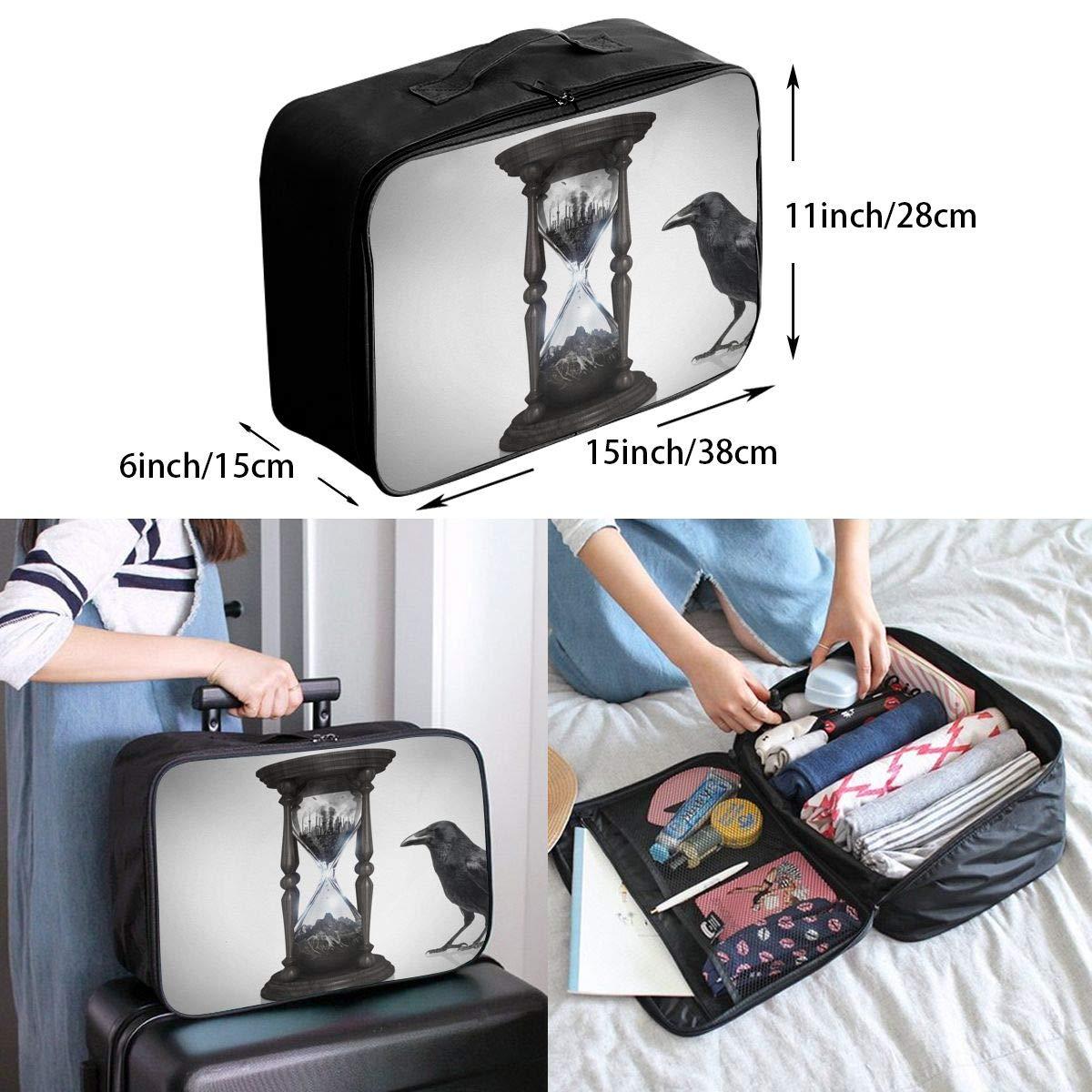 Travel Luggage Duffle Bag Lightweight Portable Handbag Hourglass Crow Large Capacity Waterproof Foldable Storage Tote
