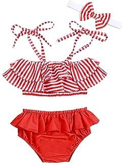 dc11d2a0c5481 Baby Girl Swimsuit Ruffle Red Dot Top and Bikinis Skirt Headband 2 Piece  Swimwear