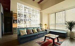Kernorv DIY Room Divider Partitions Separator Hanging Decorative Panel Screens, 12 PCS Hanging Room Divider Partition Wall Dividers for Bedroom, Dining and Living Room, Sitting Room, Office