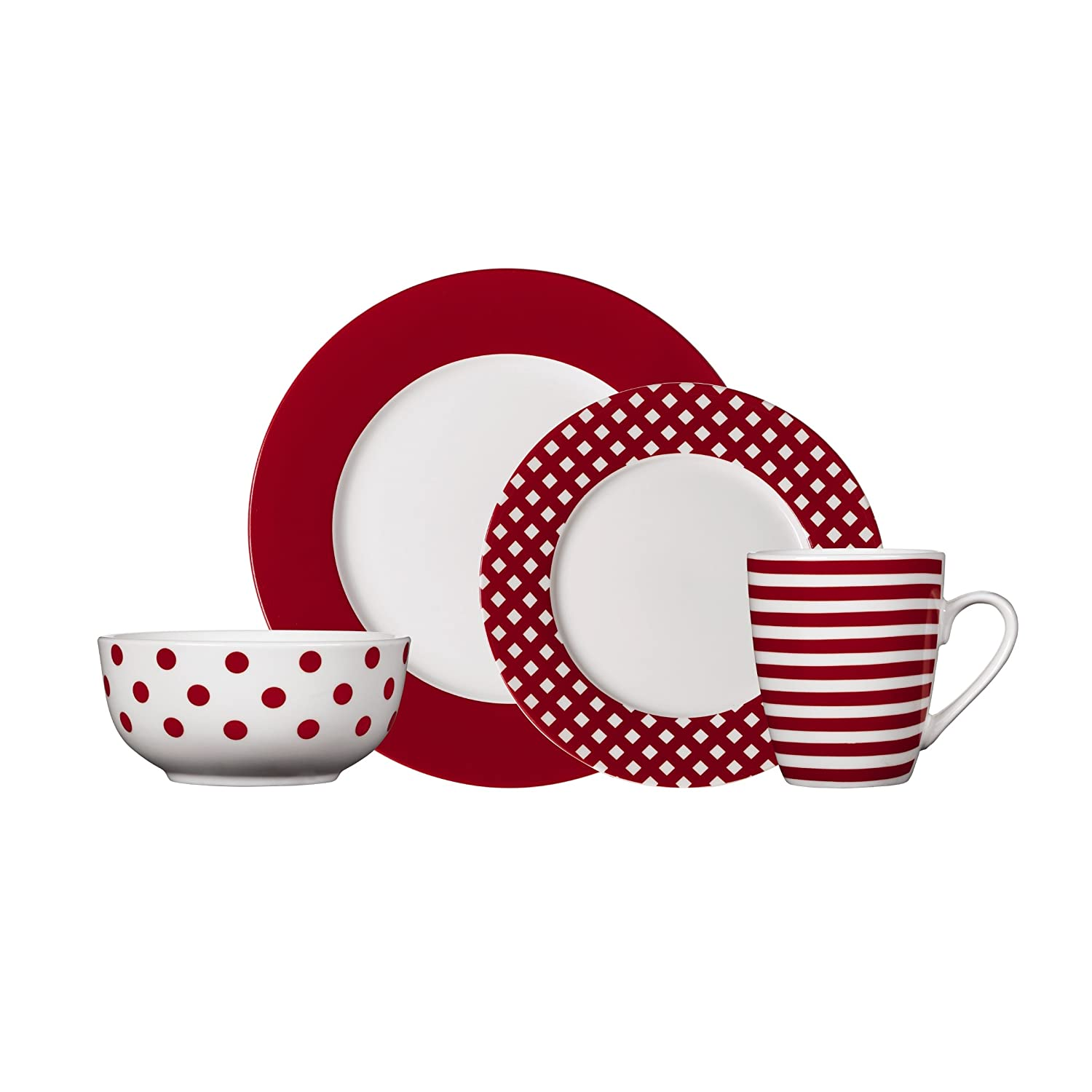 Amazon.com Pfaltzgraff Kenna Red 16-Piece Porcelain Dinnerware Set Service for 4 Kitchen u0026 Dining  sc 1 st  Amazon.com & Amazon.com: Pfaltzgraff Kenna Red 16-Piece Porcelain Dinnerware Set ...
