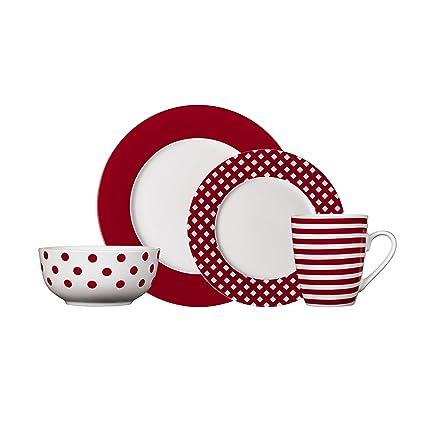 Pfaltzgraff Kenna Red 16-Piece Porcelain Dinnerware Set Service for 4  sc 1 st  Amazon.com & Amazon.com: Pfaltzgraff Kenna Red 16-Piece Porcelain Dinnerware Set ...