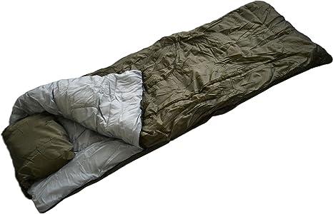 Normani - Saco de dormir (militar, con almohada) verde verde oliva