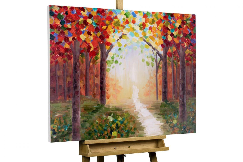 KunstLoft® Acryl Gemälde 'Creative Walk' 100x75cm   original handgemalte Leinwand Bilder XXL   Bäume Wald Bunt Sonne Natur Rot   Wandbild Acrylbild moderne Kunst einteilig mit Rahmen