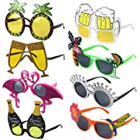 POKONBOY Luau Party Sunglasses, 8 Pack Funny Hawaiian Glasses Tropical Fancy Dress Favors Fun Summer Party Photo Booth Props Novelty Party Supplies Decoration for Kids and Adults