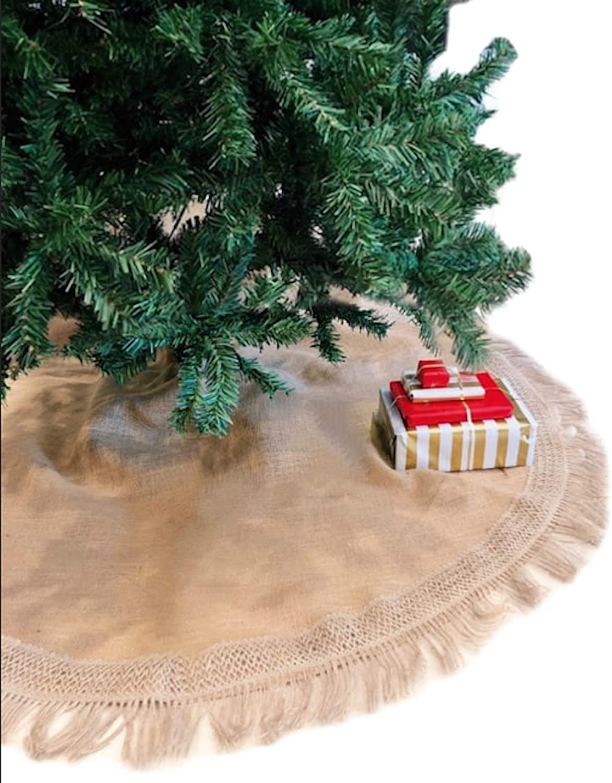 "Tree Skirt, Burlap Tree Skirt, Christmas Tree Skirt, Christmas Decor, Tree Skirt, Holiday Decor, Burlap Tree Skirt, Xmas Decorations, Christmas Decorations, Christmas Tree Decorations (60"" Round)"