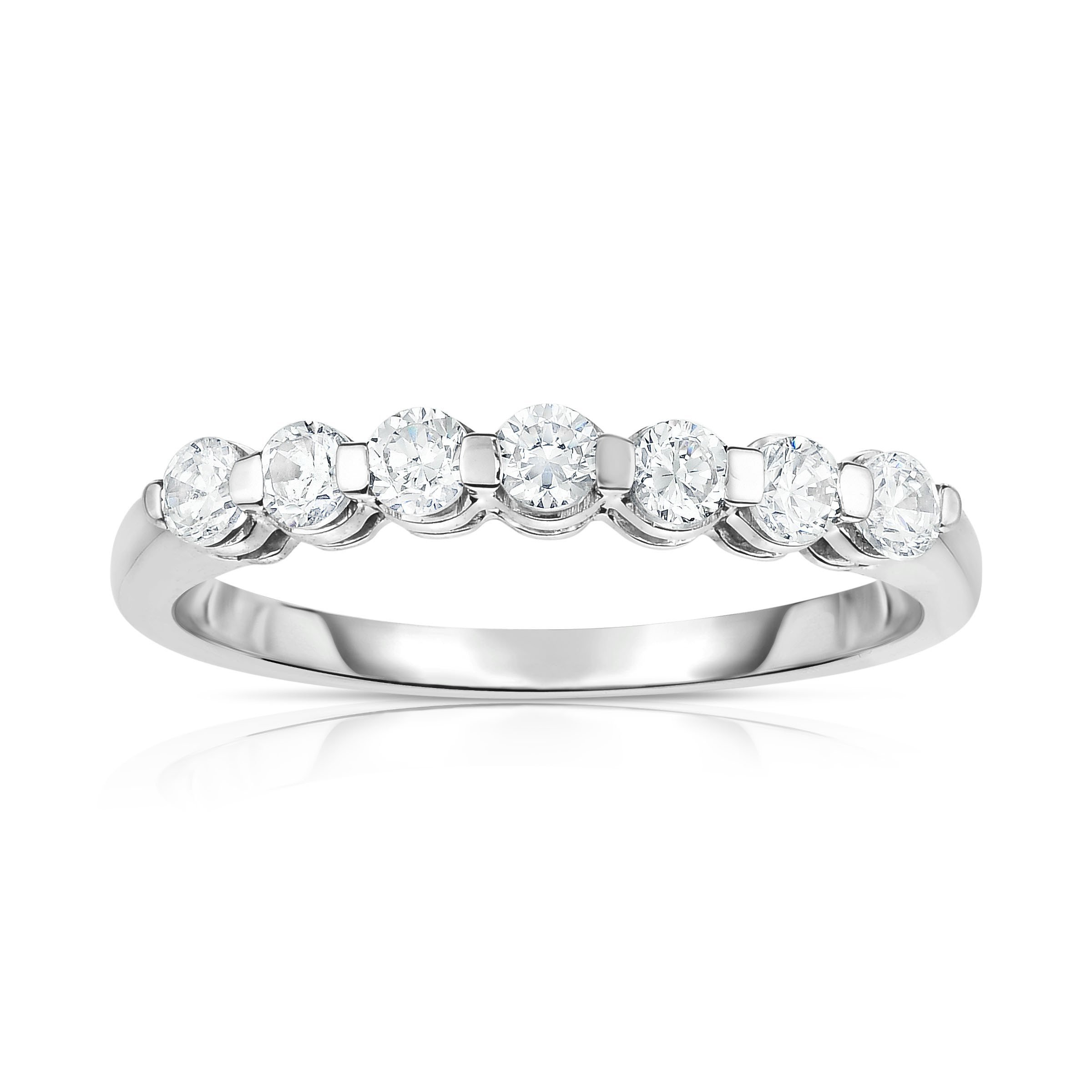 Noray Designs 14K White Gold 7-Stone Single Prong Diamond (0.45 Ct, G-H Color, SI2-I1 Clarity) Ring