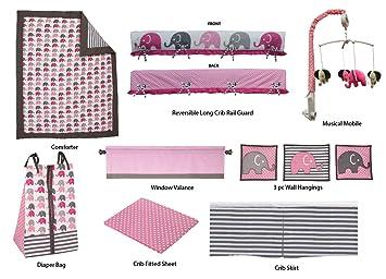 Black//White Bacati Stripes//Dots 10-Piece Nursery-in-A-Bag Crib Bedding Set with Long Rail Guard
