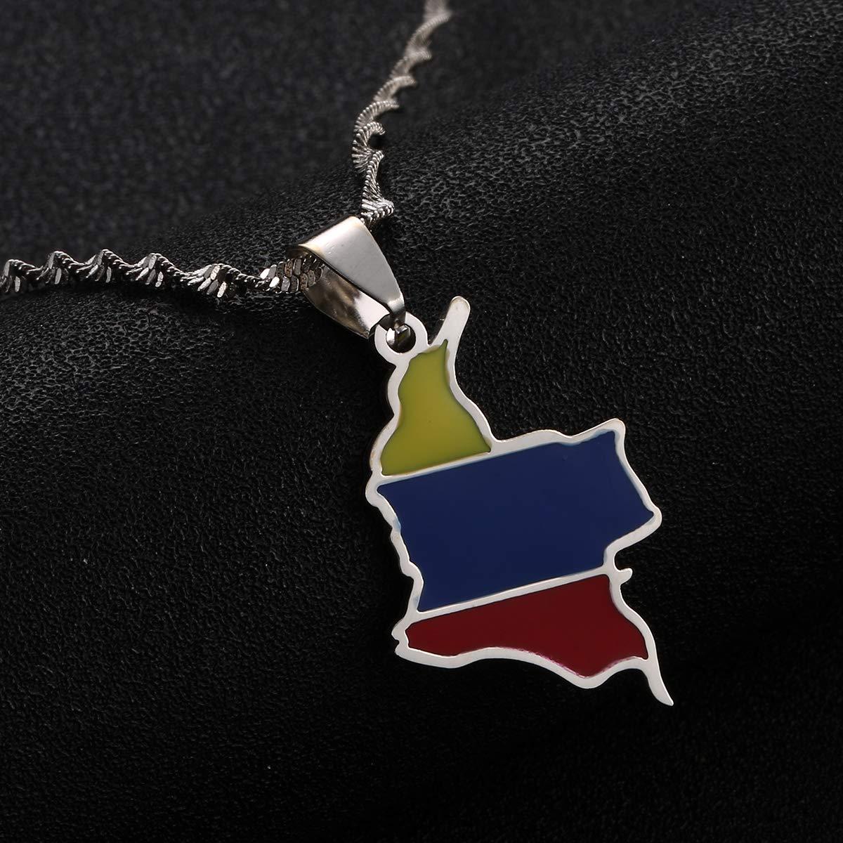 BR Gold Jewelry Collier avec Pendentif Carte de Colombie en /émail