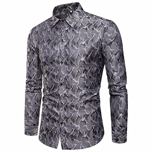 425073c8f9 GREFER Men s Camouflage Shirt Slim Fit Long Sleeve Casual Button Shirts  Formal Top Blouse