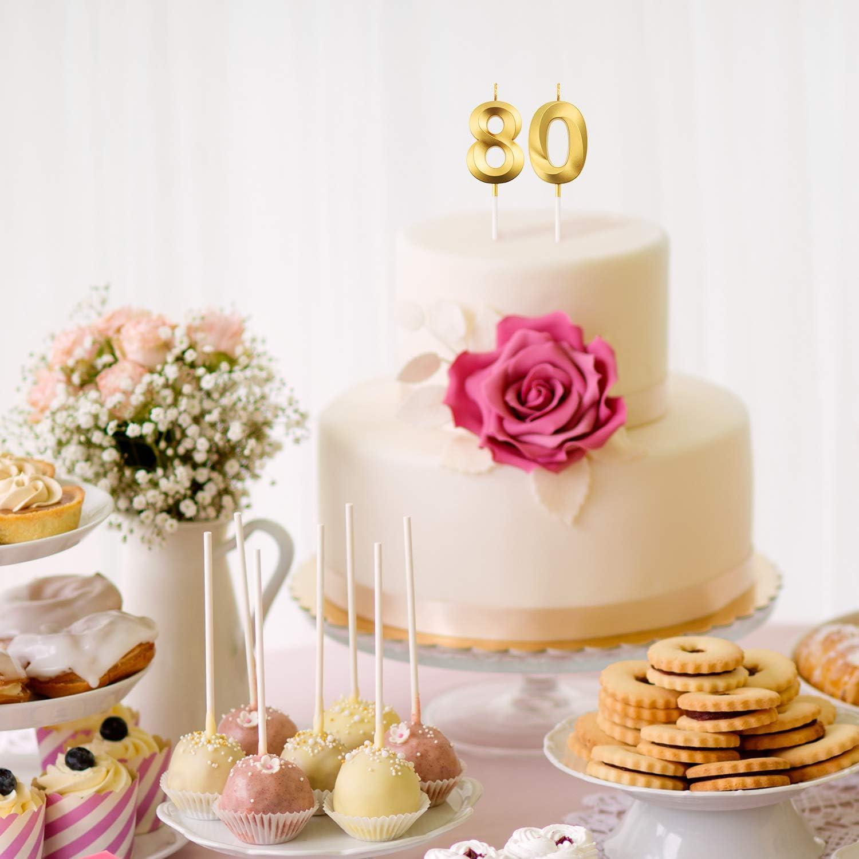 BBTO 80 Geburtstag Kerzen Kuchen Ziffer Kerzen Alles Gute zum Geburtstag Kuchen Topper Dekoration f/ür Geburtstag Jahrestag Hochzeit Party Feier Lieferungen