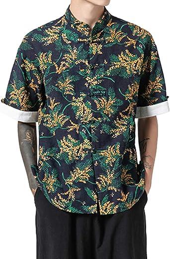 Zhhlaixing Hombre Camisas de Manga Corta Estilo Chino Traje Tang Verano Camisa Estampada Playa Casual Top: Amazon.es: Ropa y accesorios
