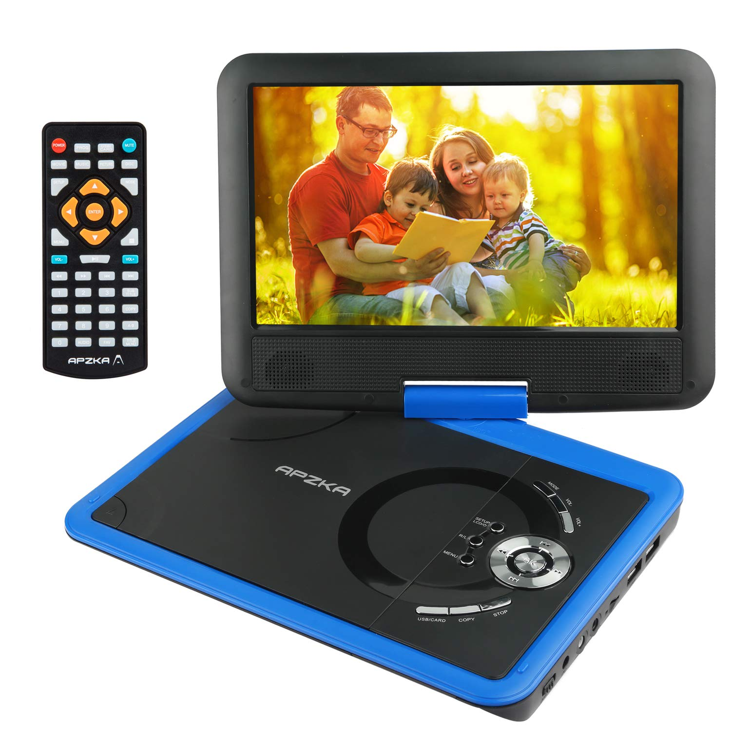 Apzka 11.5'' Portable DVD Player with Rechargeable Battery, Game Joystick and Car Charger, 9.5 Inch Internal Swivel Screen SD Card Slot and USB Port, Use via Remote Control and Menu Key, Blue
