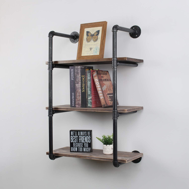 MBQQ Industrial Pipe Shelves with Wood 3-Tiers,Rustic Wall Mount Shelf 24in,Metal Hung Bracket Bookshelf,DIY Storage Shelving Floating Shelves