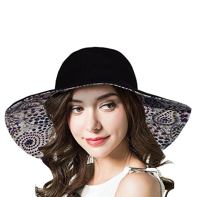 f3e270c21c2 Reversible Flora Solid Packable Wide Brim Sun Hat UPF50+ Black at Amazon  Women s Clothing store