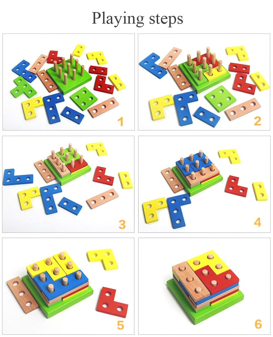 Revanak Wooden Educational Preschool Shape Early Developmental Geometric Board Block Stack Sort Chunky Puzzle Toys, Birthday Gift Toy for age 1 2 3 4 5 Years Old and Up Kid Baby Toddler Boy Girl