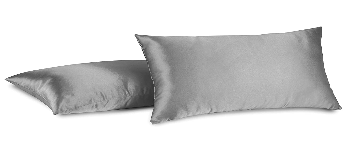 Aiking Home 100% Polyester Bridal Satin Luxury Pillowcases – Set of 2 Invisible Zipper Pillowcases - Machine Washable - (Standard 20x26 inch, Charcoal)