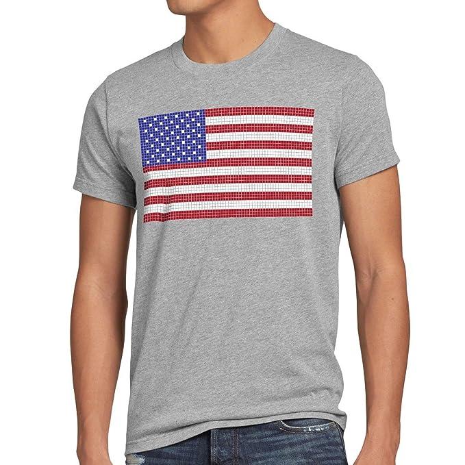 style3 8-Bit Pixel USA Pabellón Nacional Flagge Camiseta para hombre T-Shirt estados unidos: Amazon.es: Ropa y accesorios