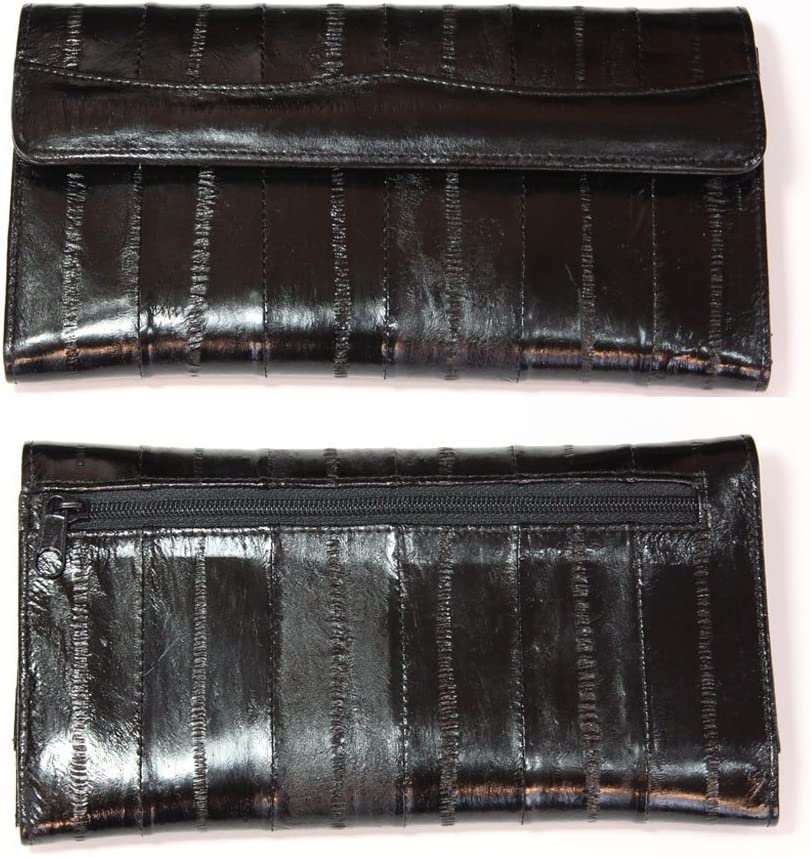 Genuine Eel Skin Leather Womans Long Wallet Trifold Purse (Black), (18.5Cm X 10Cm X 1.5Cm)