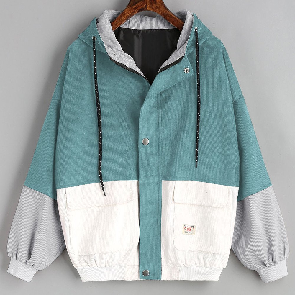 Women Hoodie Jacket,Lelili Warm Three-Color Patchwork Long Sleeve Zip Button Up Pockets Jacket Outwear Coat with Hood