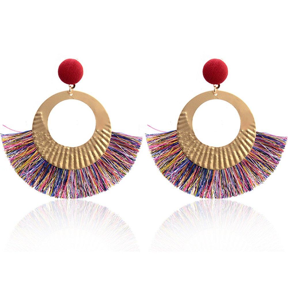 Women Jewelry,Openwork Style Big Circle Crystal Tassel Dangle Stud Earrings Fashion Jewelry,Women's Jewelry,Multicolor
