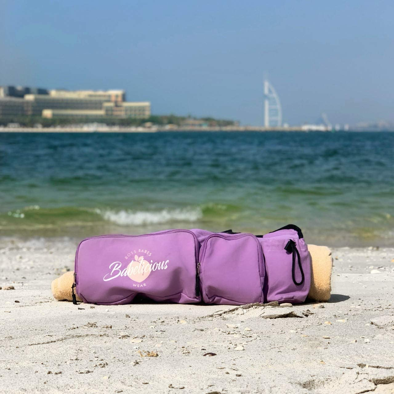Babelicious All in one Yoga Gym Towel Beach Bag with Pockets Fit Most Mats Size Pilates Gym Compartments for Clothes and Accessories