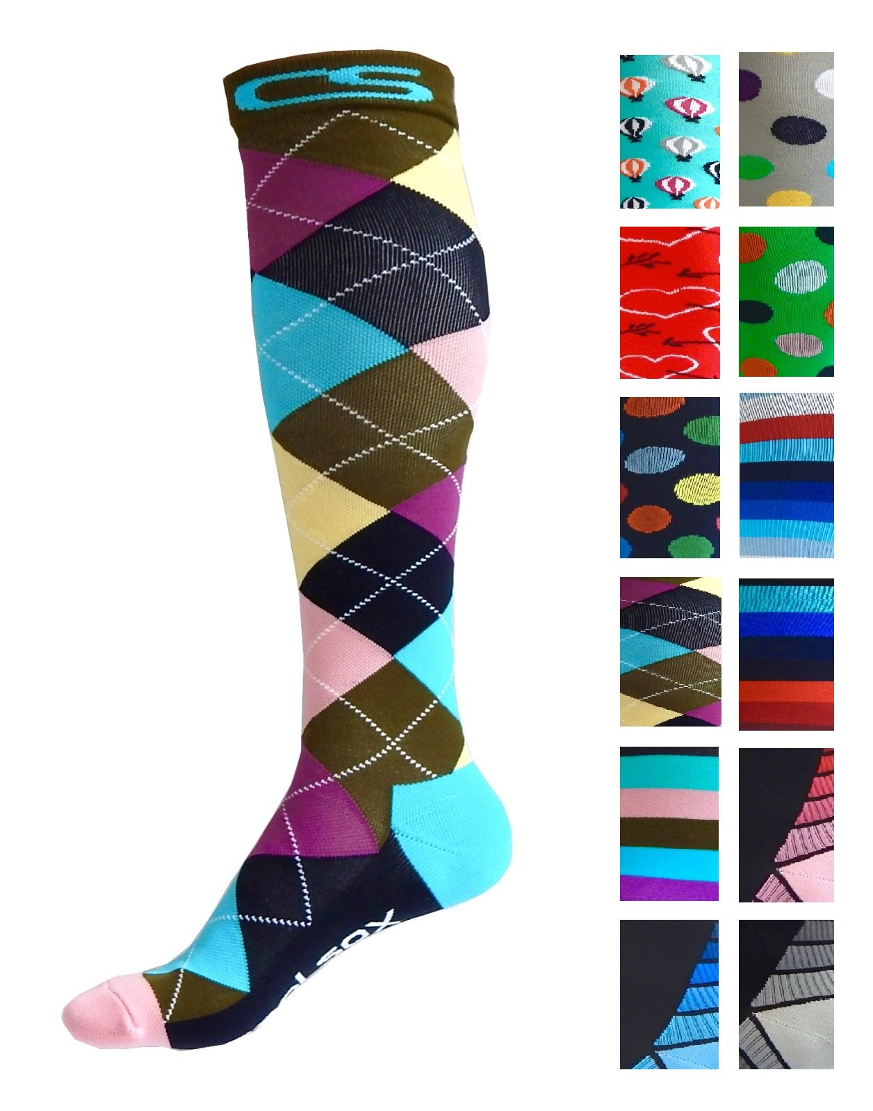 Compression Socks for Men & Women - BEST Graduated Athletic Fit for Running, Nurses, Shin Splints, Flight Travel, Maternity Pregnancy - Boost Stamina, Circulation & Recovery (Cool Argyle, S/M)