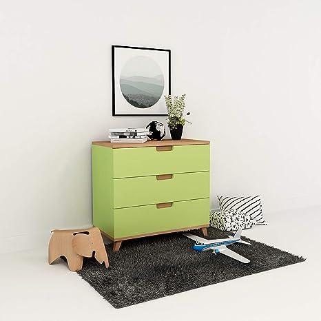 XXL Colorland Cómoda para niños de Haya y MDF con 3 cajones, cajonera de Madera de diseño de Estilo escandinavo, cajonera para Dormitorio de los niños Verde: Amazon.es: Bebé