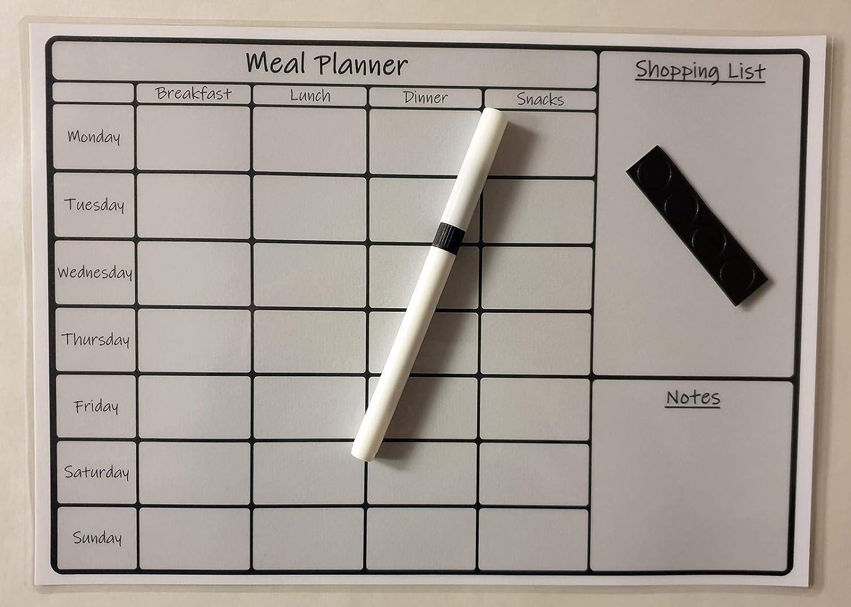 PrintnLam A4 Laminated Wipe Clean Magnetic Reusable Menu Meal Planner Shopping List /& Pen Grey Landscape