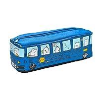 FYGOOD Sac à Stylos Trousse à Crayons Scolaire Toile Forme Bus 20.5x7x6cm