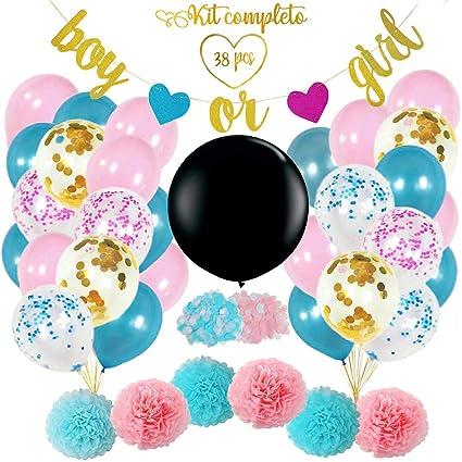 38 Piezas Kit Completo De Revelación De Género De Tu Bebé Globo Gigante Negro 36in Con Confeti Globos Rosa Y Azul Globos Confeti Oro Azul Y