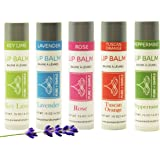 Vegan Lip Balm by Pure + Simple 5 pack Key Lime, Lavender, Rose, Tuscan Orange, Peppermint, .15 ounce tube, with Avocado Oil