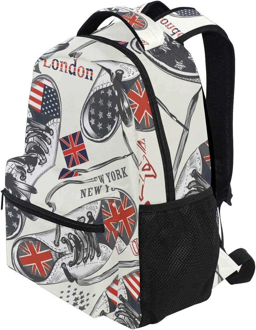 ALAZA British /& USA American Flag Fun Stylish Large Backpack Personalized Laptop iPad Tablet Travel School Bag with Multiple Pockets