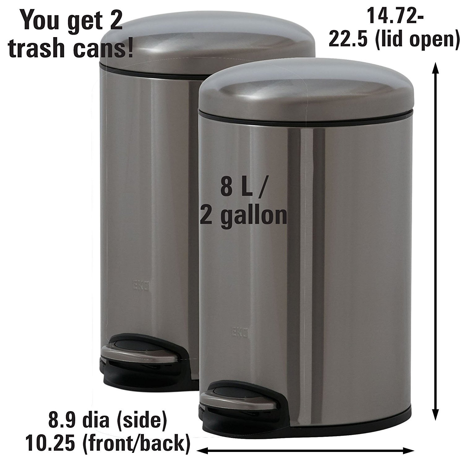 ASMGroup Stainless Steel Trash Can Stainless Steel Covered ...