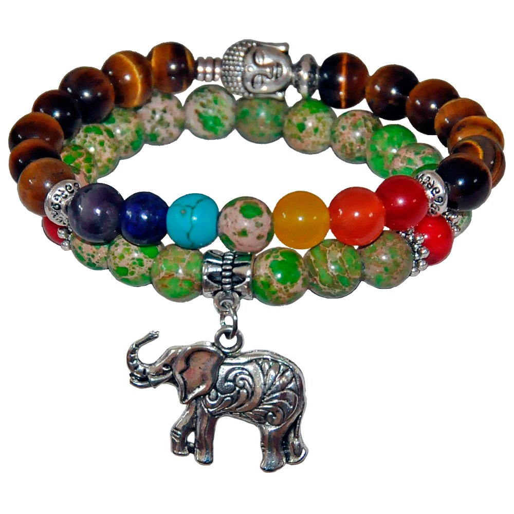 Young & Forever ''D'vine Collection'' diwali gifts special friends forever Balance Your Life 7 Chakras Gautam Buddha Beads Bracelet Tiger's eye beads bracelet imperial jasper beads bracelet lucky elepha by Young & Forever