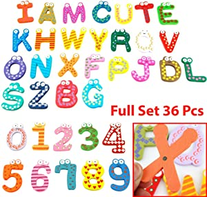 Wooden Magnetic Numbers Letters Alphabet Abc's Fun Bright Colorful Preschool Toddler Toy Learning Reading Spelling Educational Refrigerator Magnet