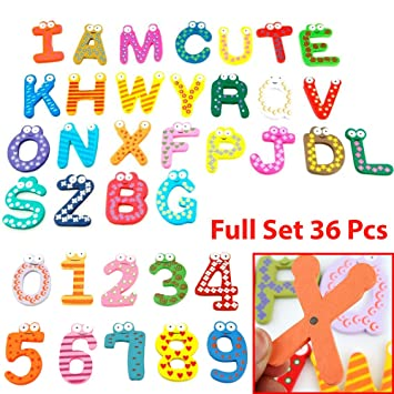 wooden magnetic numbers letters alphabet abcs fun bright colorful preschool toddler toy learning reading spelling educational