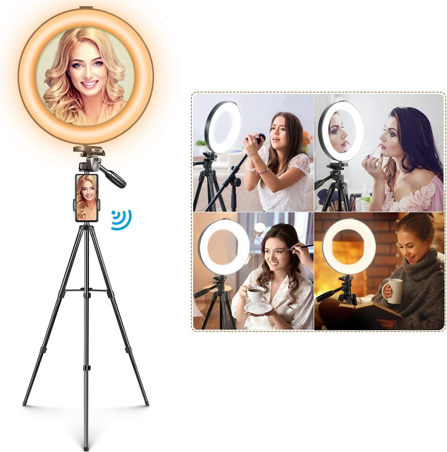 Mactrem Selfie Ring Light with 2 Adjustable Tripod Stand